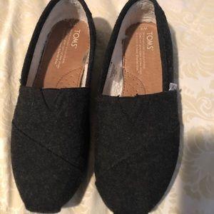 TOMS Charcoal Wool Flats